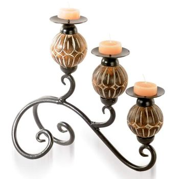 Wooden and Metal 3 in 1 decorative Candle Stand, regular