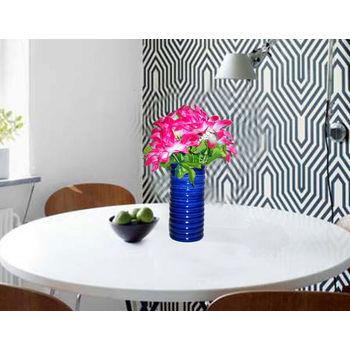 Blue Colour Ceramic Flower Vase - Set of 2, regular