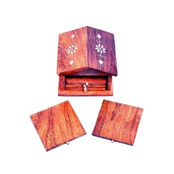 Wooden Hut design decorative coaster set with Brass inlay work