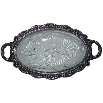 Glass and White Metal Oval Shape Dry Fruit Tray Set with both side handle, regular