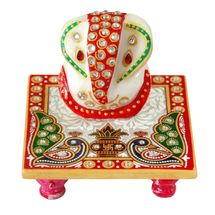 Marvellous Marble Ganesha Chowki with Peacock and Kalash design, regular