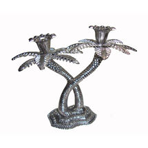 White Metal Khazur tree shape Candles Stand - with two holders, regular