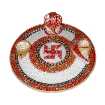 Mavellous Marble Decorative Ganesha Pooja Thali with Diya and Chopra, regular