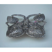 Glass and White Metal PAN Shape Dry Fruit Tray set with Metal cover Four Bowls, regular