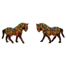 Rajasthani Meenawork Painting Horse Pair, regular
