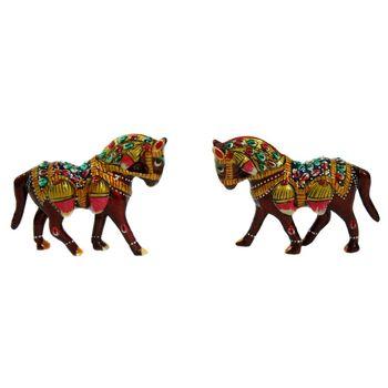Rajasthani Meenawork Painting Horse Pair, regular