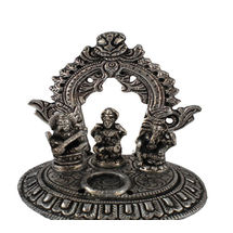 White Metal Laxmi Ganesh Sarasvati Incense Stick holder, regular