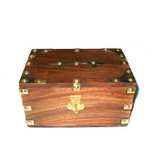 Antique Brass Inlay Work Wooden Jewellery Box, regular