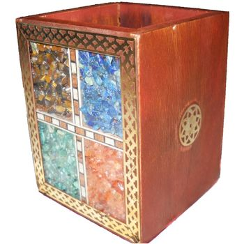 Beautifully handcrafted Gemstone and Wooden Pen Stand, regular