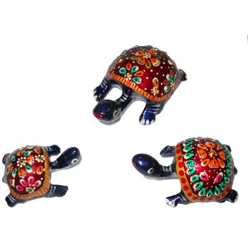 Rajasthani Meenawork Painted Tortoise statues Set of 3, regular