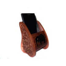 Black Elephant Inlay work and Hand Carved Wooden Mobile Stand - For 2.6 Inch Size Mobile, regular