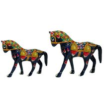 Rajasthani Meenawork Painted Mix size Horse Statues Pair, regular