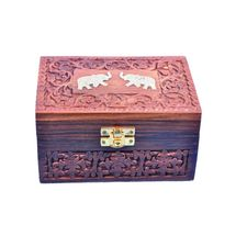 Crafts Paradise Beautifully Hand Carved and Brass inlay work multipurpose Wooden Jewellery Box