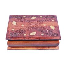 Beautifully crafted Book Shape Wooden Jewellery Box with hand carving and Brass inlay work, regular