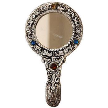 White Metal and Glass Hand mirror - Round Shape, regular