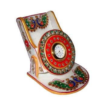 Marvellous Marble Peacock Design Mobile Stand with Analog Watch