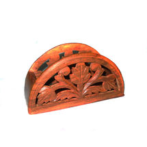 Hand Carved Chillai Work Wooden Paper Napkin Holder, regular