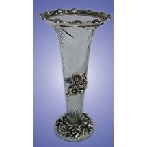 White Metal and Glass Misile Coin Flower Vase, regular