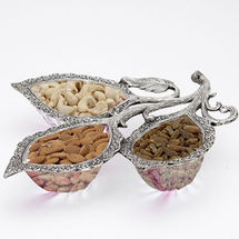 Glass and White Metal Oval Shape Dry Fruit Tray Set with Three Oval Shape Bowls, regular