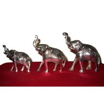 White Metal Elephant group - three Elephant Statue, regular