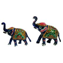 Rajasthani Meenawork Painting Elephant Pair - Mix Size, regular