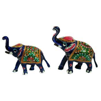 Rajasthani Meenawork Painting Elephant Pair - Mix Size, regular