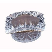 Glass and White Metal Decorative Square Ashtray, regular