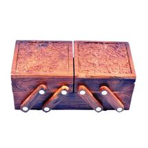 Crafts Paradise Beautifully Kashmiri Hand carved work Sliding 3 in 1 Wooden Jewellery Box