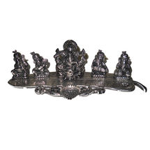 White Metal Musical Ganesha on Banana Leaves, regular