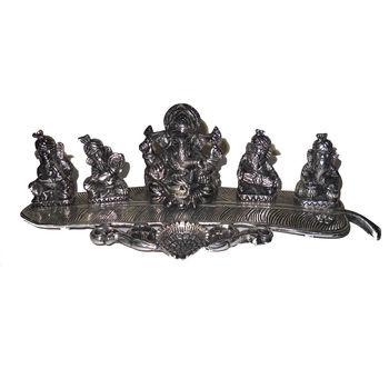 White Metal Musical Ganesha on Banana Leaves, regular