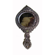 White Metal and Glass Double Side Hand Mirror - Round Shape, regular