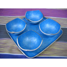 Snacks Serving 4 Bowl and tray Set - Blue, regular