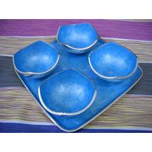 Snacks Serving 4 Bowl and tray Set - Blue, regular