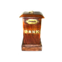 Brass Inlay Work Wooden Coin Box, regular