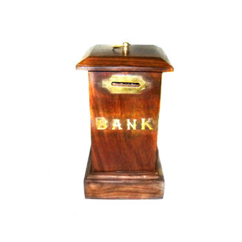 Brass Inlay Work Wooden Coin Box, regular