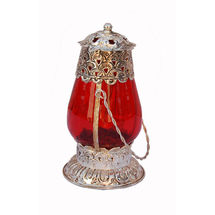 Glass & Brass Decorative Laltain-Candle Stand, medium