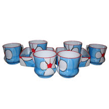 Beautiful Flower Design Cup and Snacks Set - Blue Color, regular