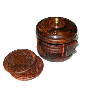 Hand Carved with Brass Inlay Shutter Design Wooden Coaster Set, regular