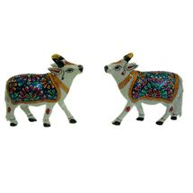 Rajasthani Meenawork Painting Cow Pair, regular