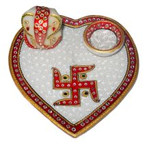 Marvellous Marble heart shape Pooja and teeka Thali with Marble Ganesha Idol and diya, regular