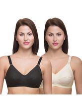Fittme Cotton Full Coverage Bra (FM112CMBSKNBLKD), skin and black, 32 d