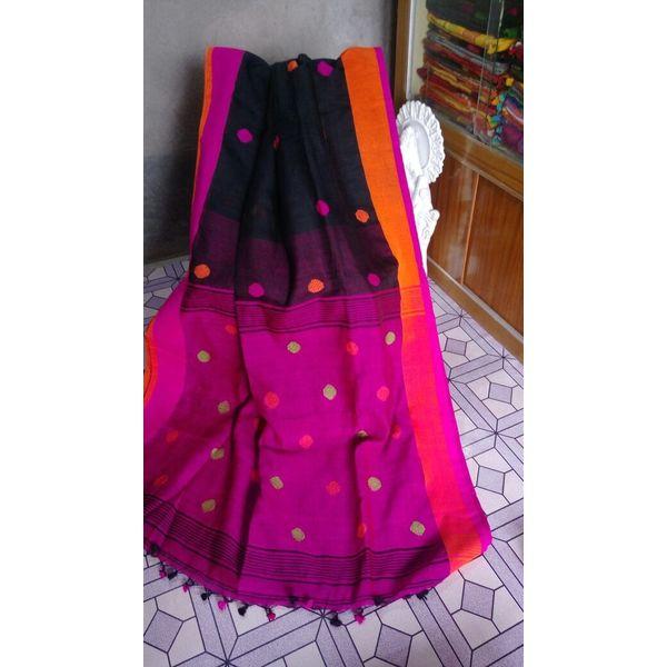 Linen By Linen Ball Butta Jamdani Saree 5.5 Metre with 80cm Blouse Piece 19