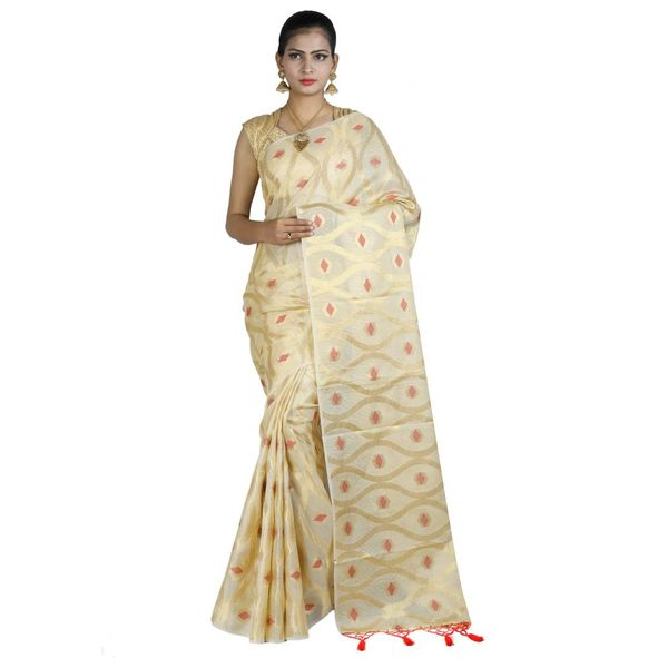 Pure Tissue Cotton Saree with Golden Zari Brocade Blouse 15