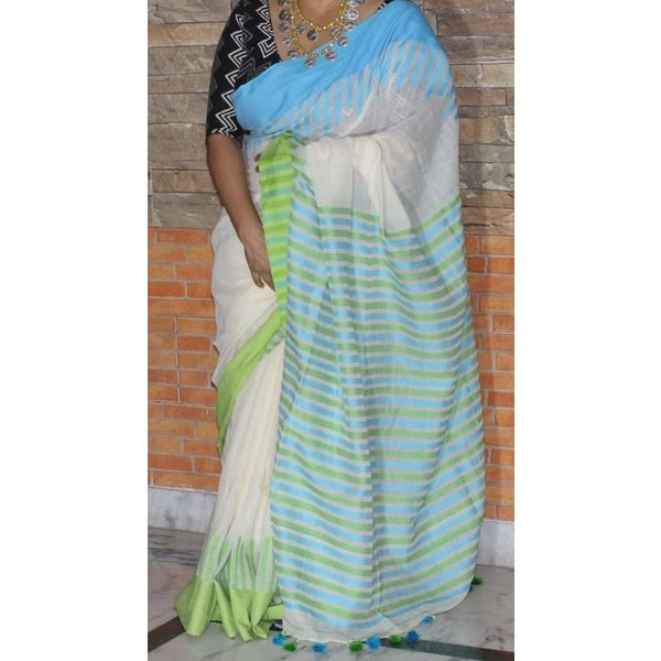 Pure Khadi Cotton Saree with Weaved Piano design border 2