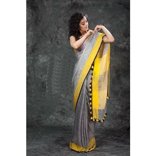Pure Linen Saree with Contrast Border 5