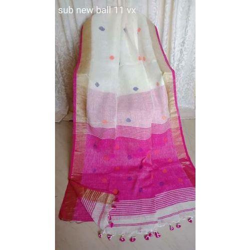 Linen By Linen Ball Butta Jamdani Saree 5.5 Metre with 80cm Blouse Piece 14