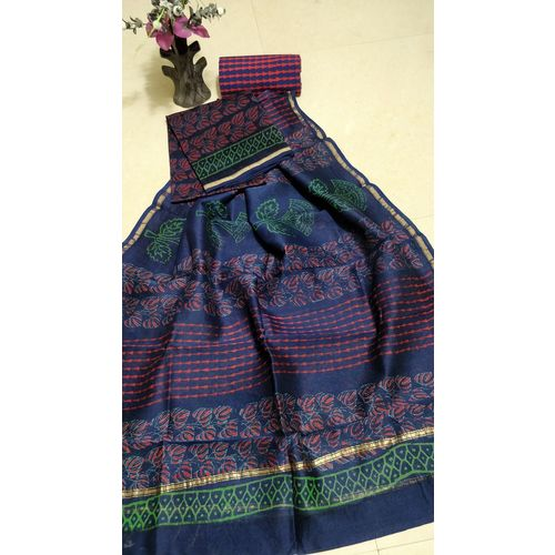 Hand Block Printed Chanderi Silk Salwar Suit 3