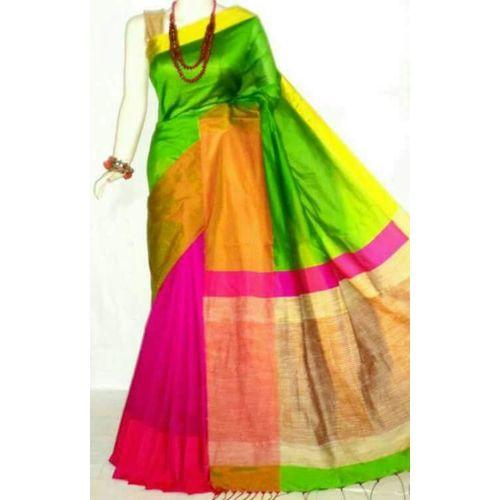 Mahapar Cotton Silk Saree 6.3 metre length with Blouse Piece 7