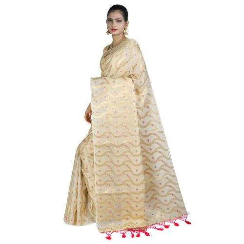 Pure Tissue Cotton Saree with Golden Zari Brocade Blouse 8