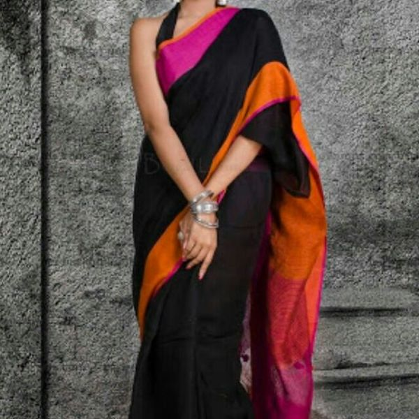 Pure Linen Saree with Contrast Border 6
